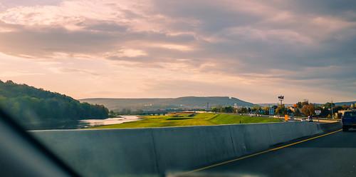 road bridge sunset panorama mountain newyork river us unitedstates corning fujix100s
