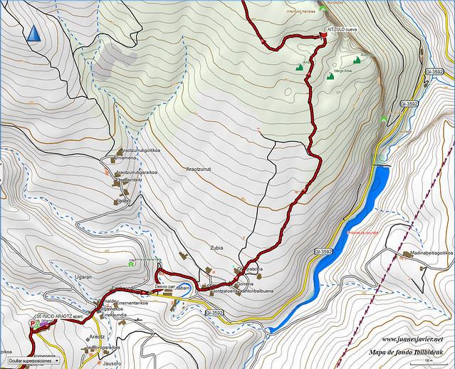AIZKORRI raizk021 mapa21 detalle IBILBIDEAK Aranzadi valles Degurixa y Araotz