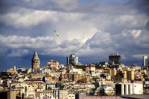 sky holiday bird weather clouds buildings turkey geotagged europe day cityscape view cloudy outdoor seagull gull hill istanbul tur vista gata beyoğlu sirkeci tahtakale geo:lat=4100697765 geo:lon=2897793174 gatatower