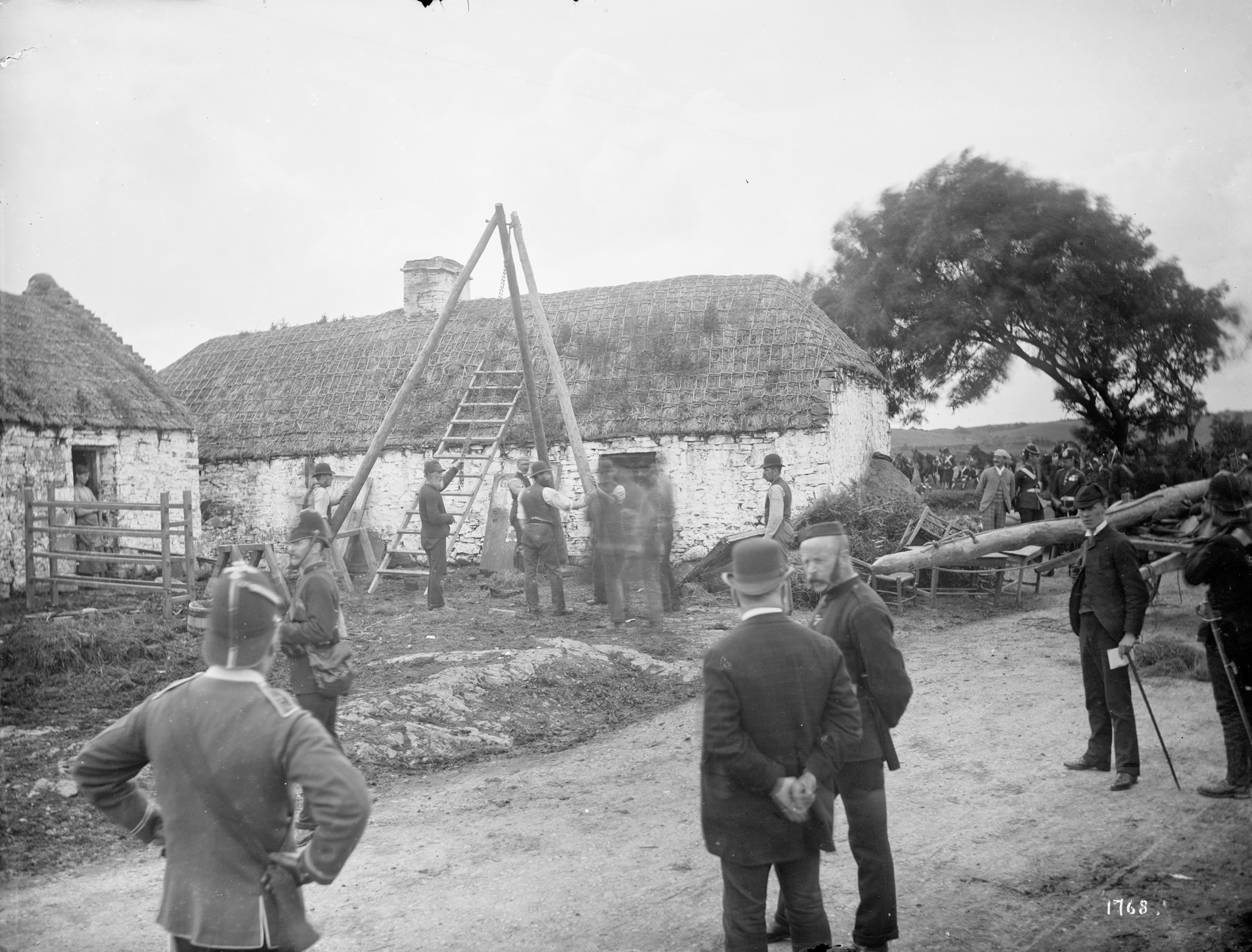Mathias Magrath's house, Moyasta, Co.Clare with the Battering Ram in front