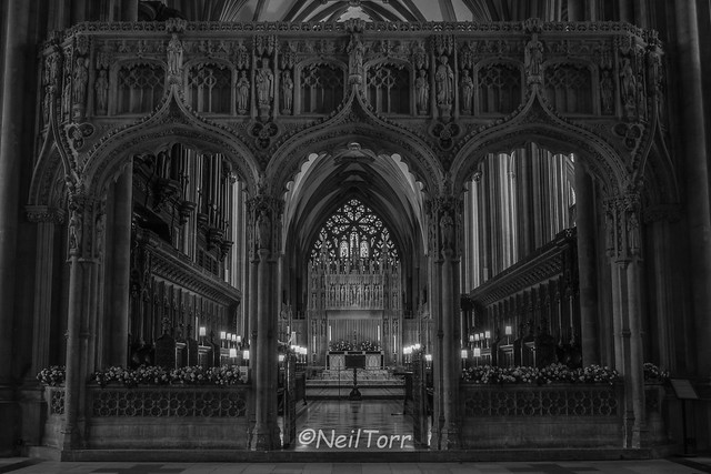 Bristol Cathedral East End B&W