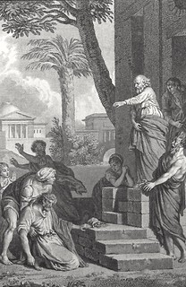 Luke in the Phillip Medhurst Collection 596 The death of Ananias Acts 5:1-6 Marillier