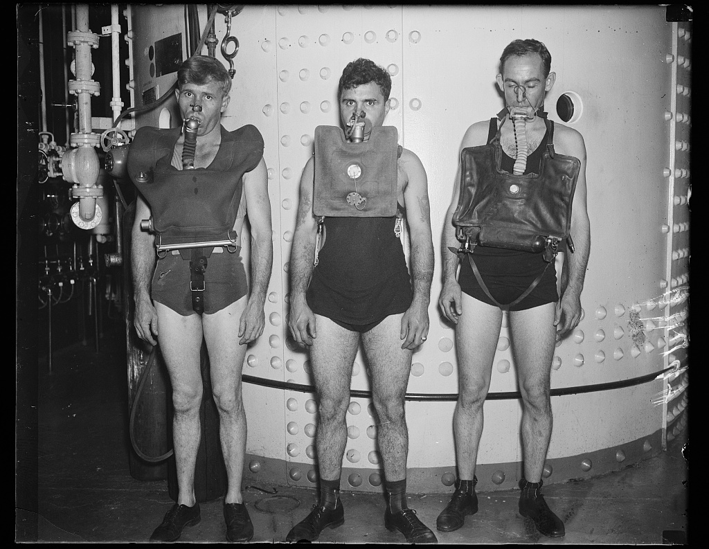 "Identified! [Underwater breathing devices: ""Dräger Gegenlunge"" (left), ""Momseng Lung"" (center), and ""Davis Submerged Escape Apparatus"" (right)] (LOC)"