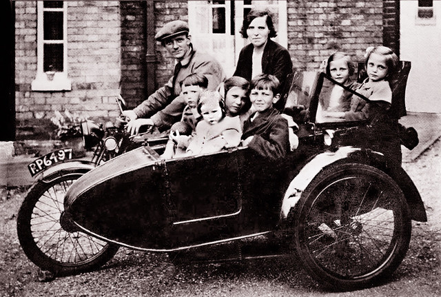 Family Motorcycle, English Midlands -- photographed 1940s