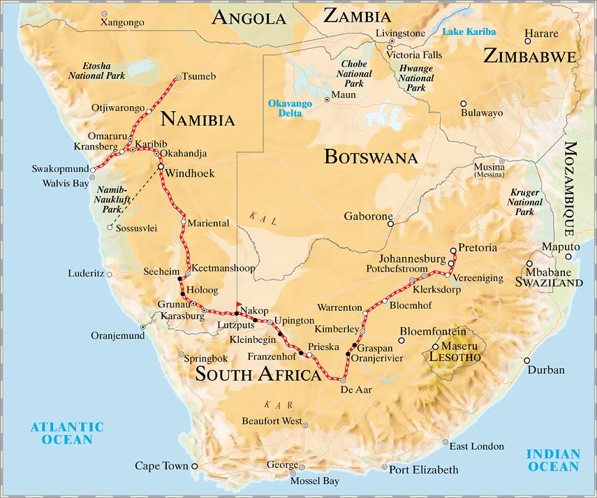 Pride of Africa Rovos Rail - Namibia Safari Map | Namibian S ...