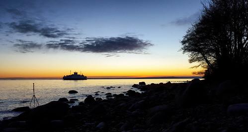 sunset panorama norway moss 360 fjord oslofjorden østfold jeløy jeløya bastøferga 360video
