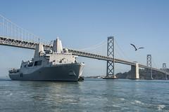 USS Somerset (LPD 25) passes under the Oakland Bay Bridge Oct. 5 as it prepares to pull into port to participate in San Francisco Fleet Week. (U.S. Navy/MC2 Ryan Riley)