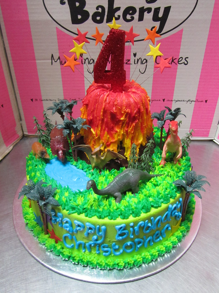 Awesome Volcano And Dinosaurs Themed 4Th Birthday Cake With Toy Pl Flickr Personalised Birthday Cards Veneteletsinfo