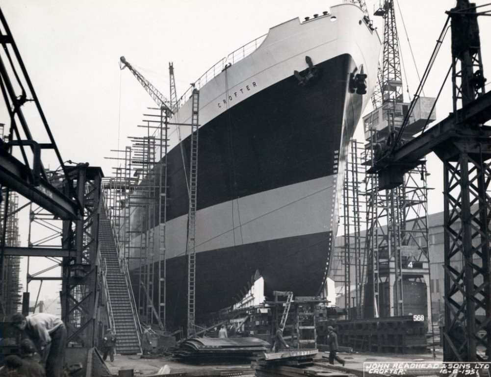 Preparing the cargo ship 'Crofter' for launch