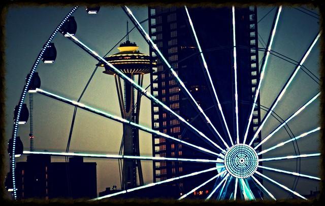 Space Needle and Ferris Wheel