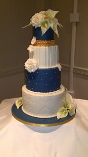 Navy Ivory Gold Wedding Cake With Handmade Sugar Flower Flickr