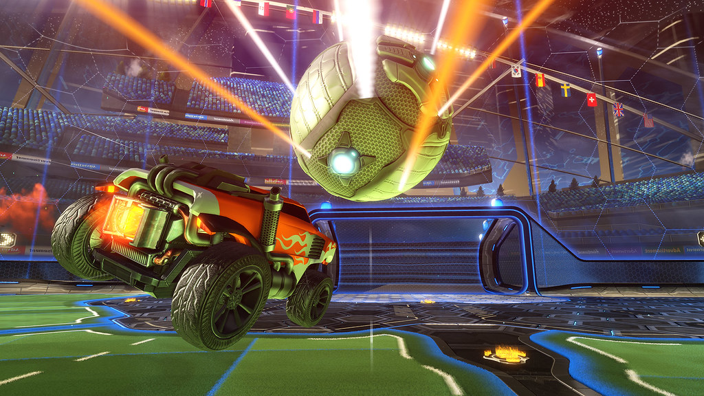 Image of a moment from the game Rocket League