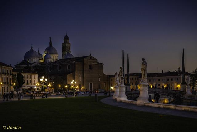 Padova - Prato della Valle - St. Giustina Church after sunset