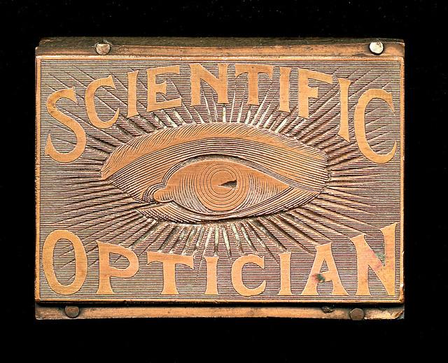 Vintage Scientific Optician printing block