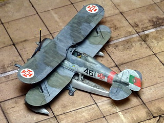 1:72 Gloster Gladiator Mk. II floatplane conversion; aircraft '461'/ 'Tubarão' of the Esquadrilha de Caça No. 3, Portuguese Aéronautica Militar; Lajed (Azores), 1949 (Whif/modified Matchbox kit) | by dizzyfugu