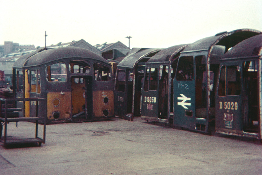 British Rail class 24, 25 & 45 diesel locomotive old cabs, Derby locomotive works. 1969