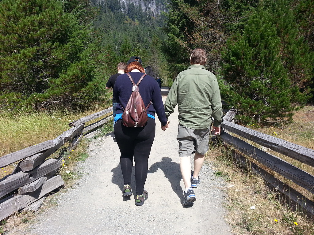 Terry and Rachelle holding hands and walking a trail at Mt. Rainier National Park.  Derek trailblazing ahead.