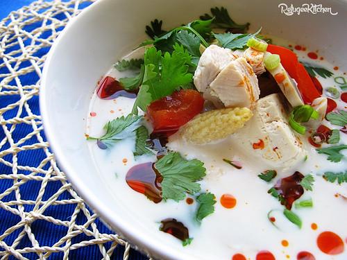Chicken & Tofu Coconut Soup | by RefugeeKitchen.com