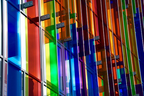 blue white red green yellow vibrancy vibrant landscape computer nickfewings queens university uk northernireland belfast architecture building glass rainbow colourful colorful colors colours catchy flickr brilliant