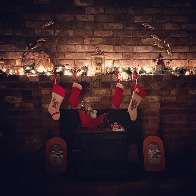 Hung With Care #fireplace #christmas #stocking #hungwithcare #christmaseve
