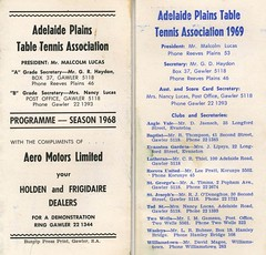 Adelaide Plains Table Tennis Assoc. 1968 and 1969