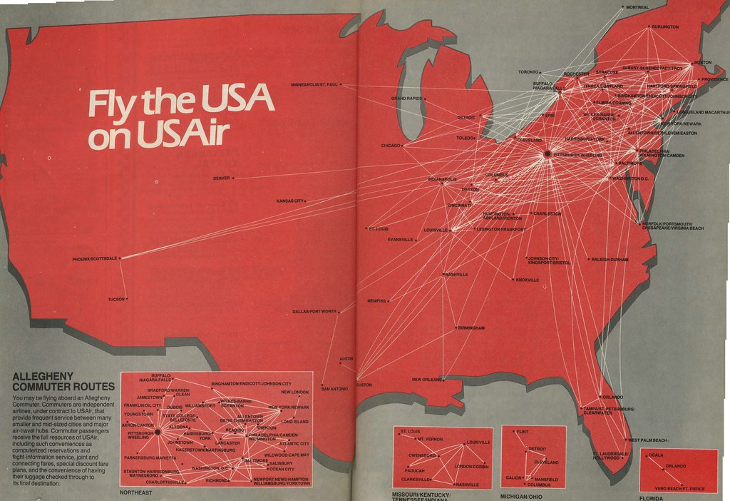 Us Airways Direct Flights Map on