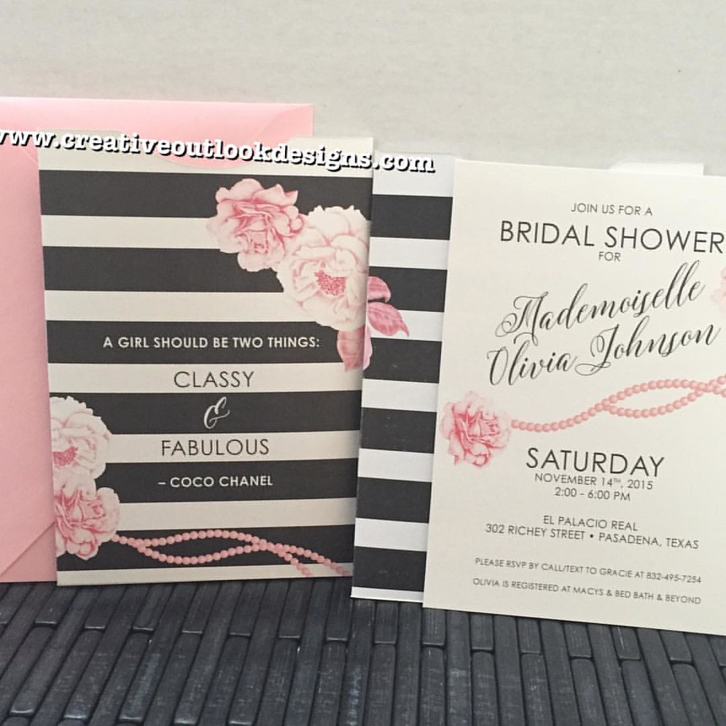 Coco Chanel Inspired Bridal Shower Invitations Customi Flickr