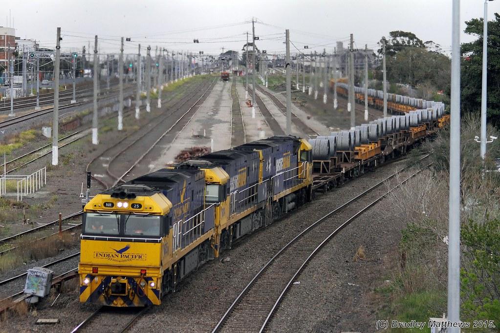 NR25 (IP)-NR104-NR69 with 1WM2 up steel goods, ex Port Kembla at West Footscray (7/9/2015) by Bradley Matthews
