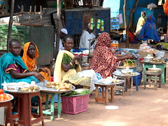 Vendors at a market in Raga, South Sudan