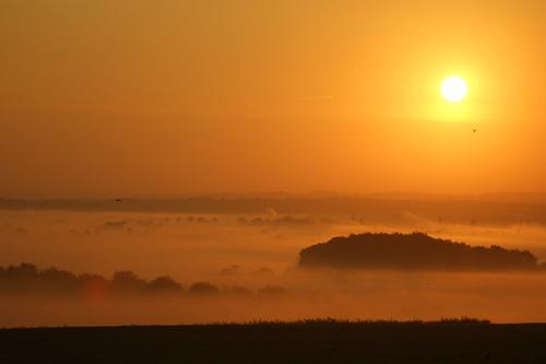 mist fog sunrise hertfordshire hitchin pirton