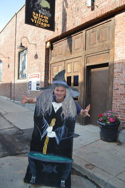 Ryan Janek Wolowski as a Salem Witch at the Salem Witch Village Est. 1692 store in Salem Town, Witch City, Massachusetts, New England, USA