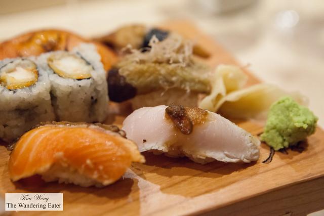 Seared salmon, seared kanpachi