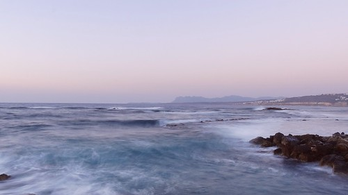 longexposure sunset sea summer seascape water landscape evening view greece crete hania chania