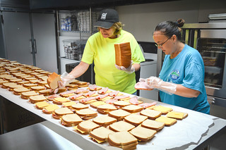 KCEOC staff, Latisha Smith (left) and Daphne Karr, preparing up to 1,800 sack lunches each day | by USDAgov