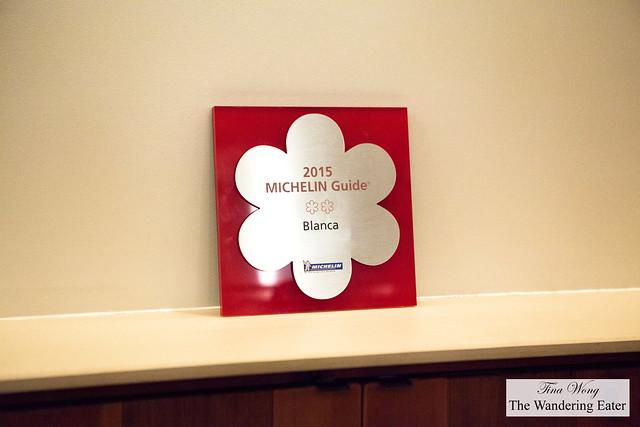 2* Michelin award/sign for Blanca