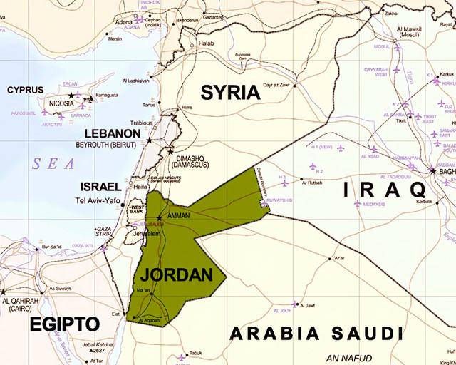 Mapa de Oriente Medio para saber si es seguro viajar a Jordania