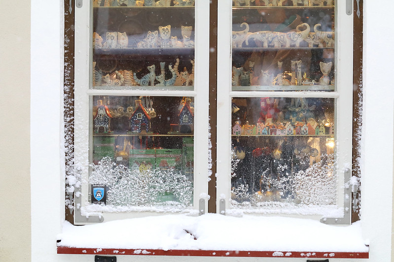 Shop windows covered with powdering snow