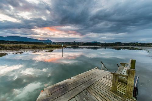 sunset clouds reflections river outdoors jetty seat wharf hdr katikati uretarariver