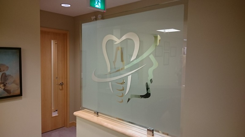 Custom corporate logo on glass