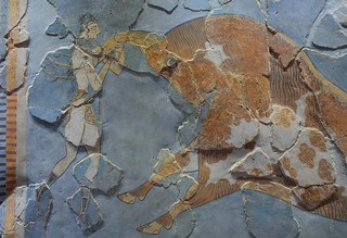 Minoan fresco depicting a bull leaping scene, found in Knossos, 1600-1400 BC, Heraklion Archaeological Museum, Crete | by Following Hadrian