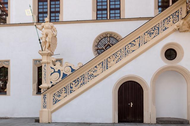 Torgau, Schloss Hartenfels: Aufgang zum Wendelstein