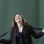 Viv Albertine | Viv Albertine poses for the press on the Book Festival's green carpet © Helen Jones