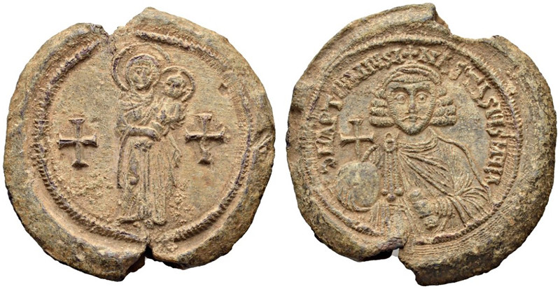 A Rare and Exceptional Byzantine Lead Seal or Bulla of Anastasius II Artemius (713-715 C.E.)