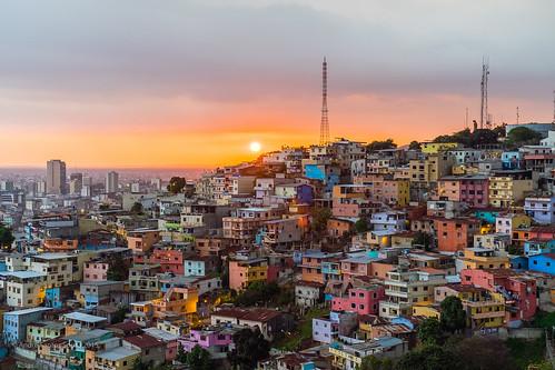 city sunset sun southamerica colors 35mm ecuador cityscape laspenas guayaquilecuador fujixt1