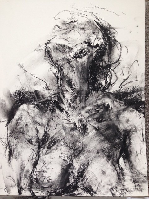 seated figure charcoal gestural drawing