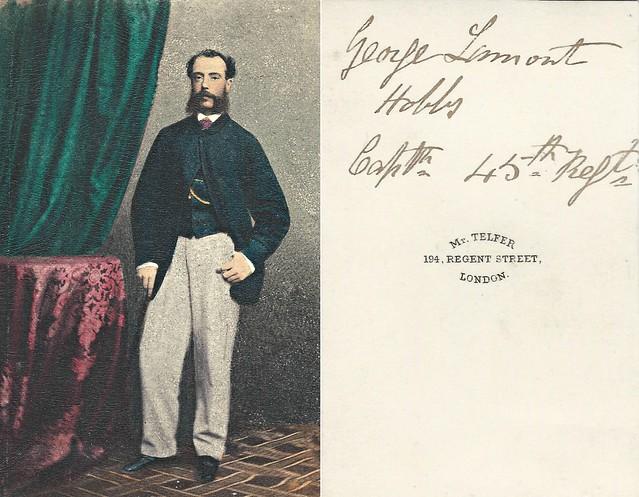 Captain George Lamont Hobbs, 45th Regiment of Foot (CDV by Telfer, 194 Regent Street, London)