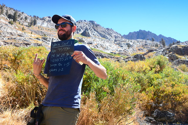 Marc with sample sign for White Chief 1, Mineral King area of Sequoia National Park, California