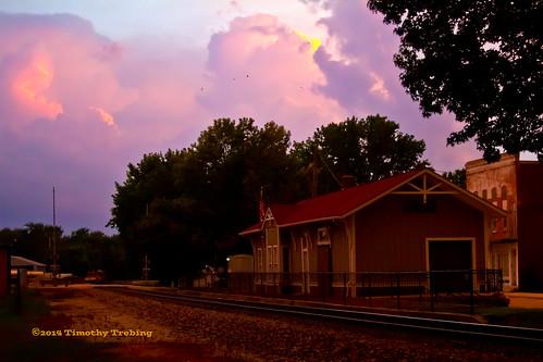 railroad sunset clouds track depot