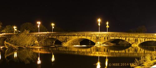 mbe 2013 cork ireland fermoy bridge blackwater river night reflection november winter