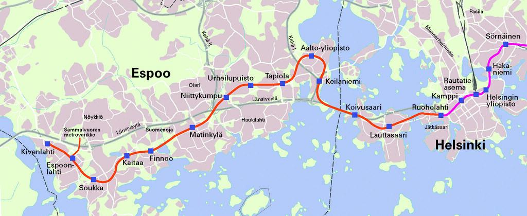 Metrokartta Lansimetro Ruoholahti Kivenlahti Lansimetro